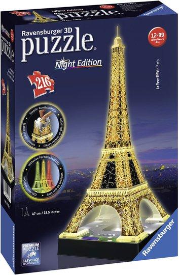 Ravensburger 3D-Puslespill Eiffeltårnet Natt, 216 Brikker