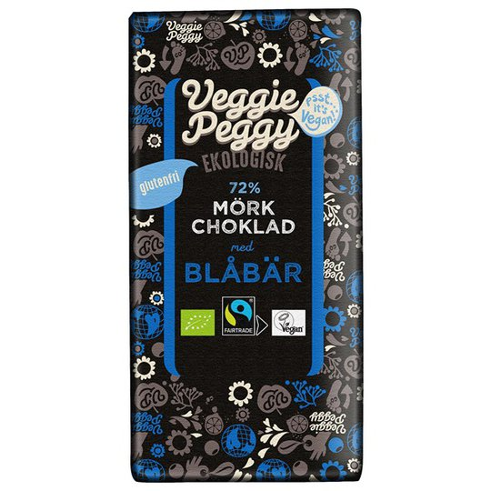Veggie Peggy Ekologisk Mörk Choklad med Blåbär, 85 g