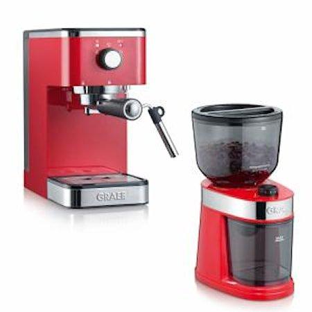 Salita Sett, espressomaskin og kaffekvern Rød