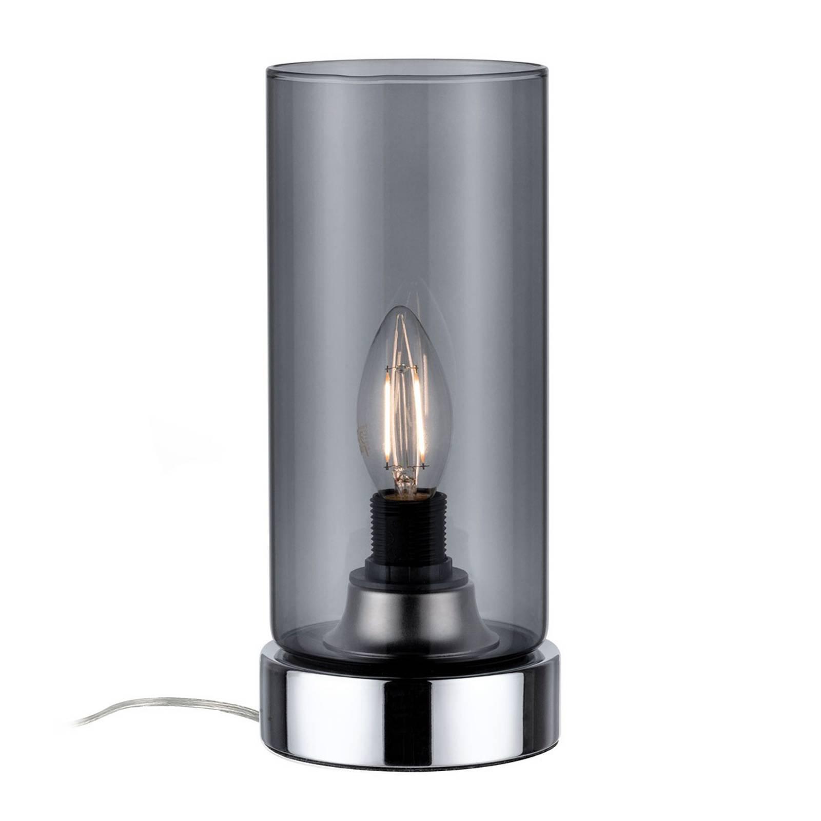 Paulmann-pöytälamppu Pinja, kromi/savunharmaa