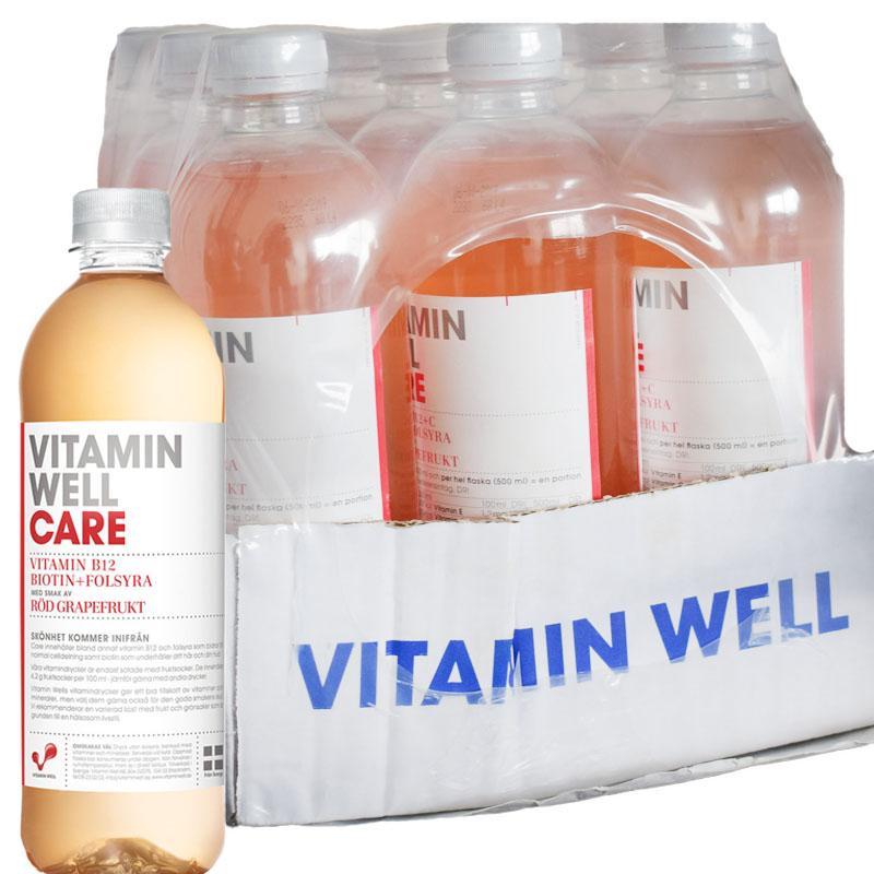 "Hel låda"" Vitamin well Care"" Röd Grapefruit 12 x 500ml - 59% rabatt"