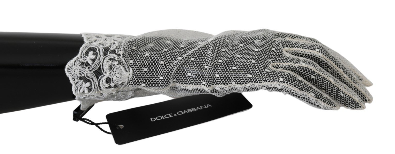 Dolce & Gabbana Women's Lace Wrist Length Mittens Cotton Gloves White LB1023 - 8.5|L