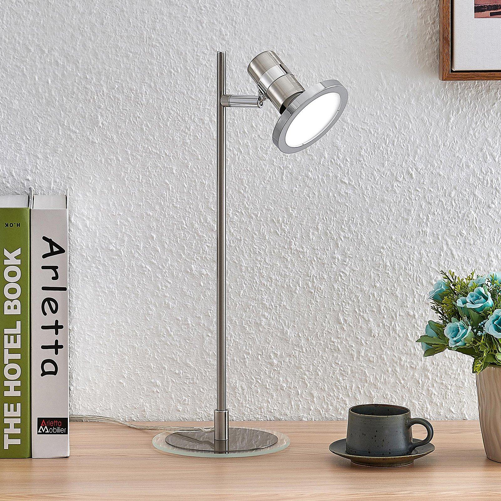 Lindby Kajetan LED-bordlampe, nikkel, 1 lyskilde