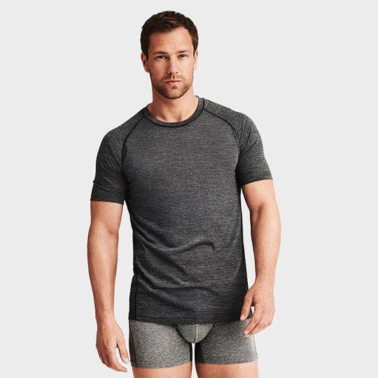 Light Wool T-shirt Men, Grey Melange