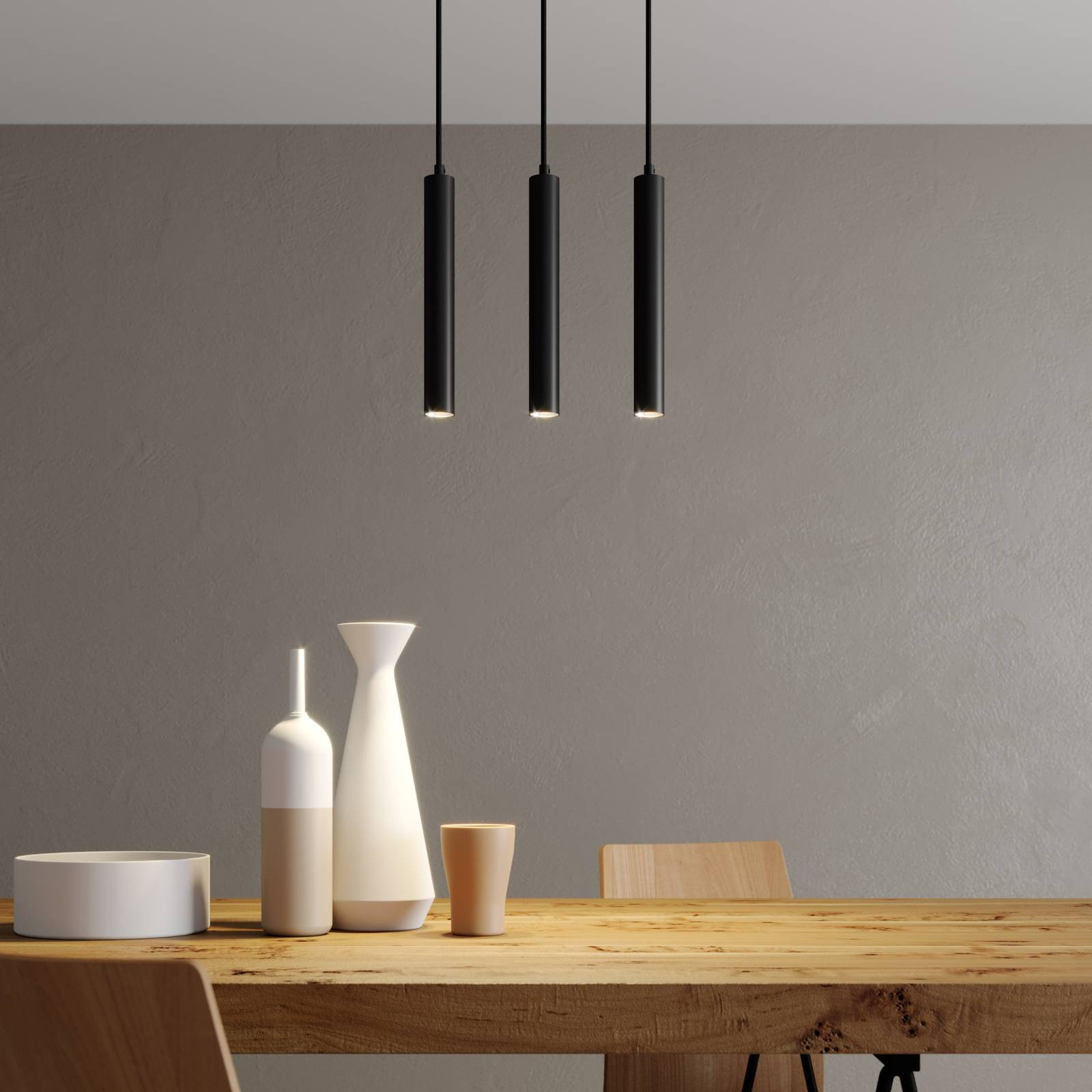 Arcchio Franka -LED-riippuvalo, 3-lamp., pitkä