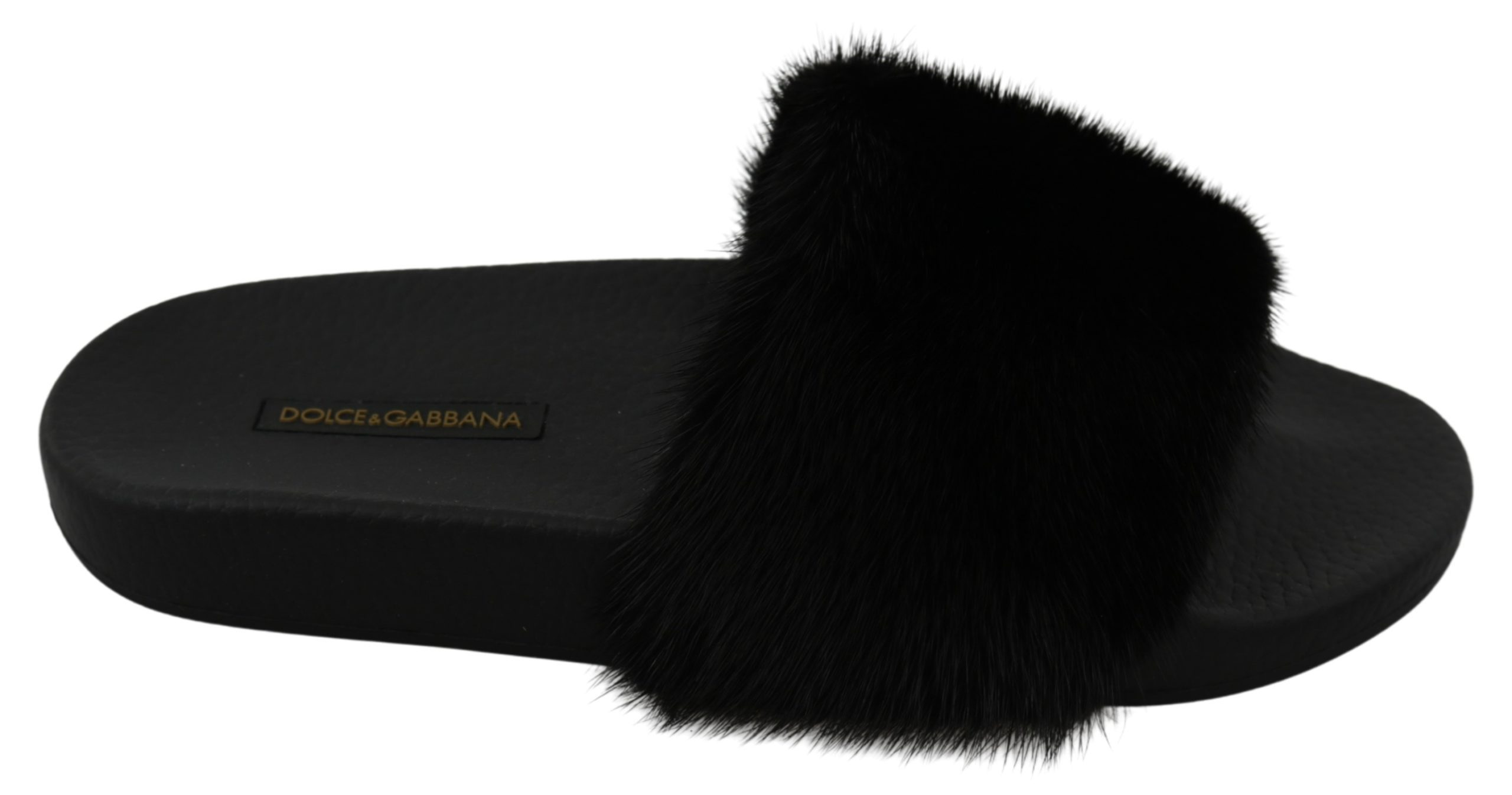 Dolce & Gabbana Women's Fur Slides Flats Black LA7299 - EU37/US6.5
