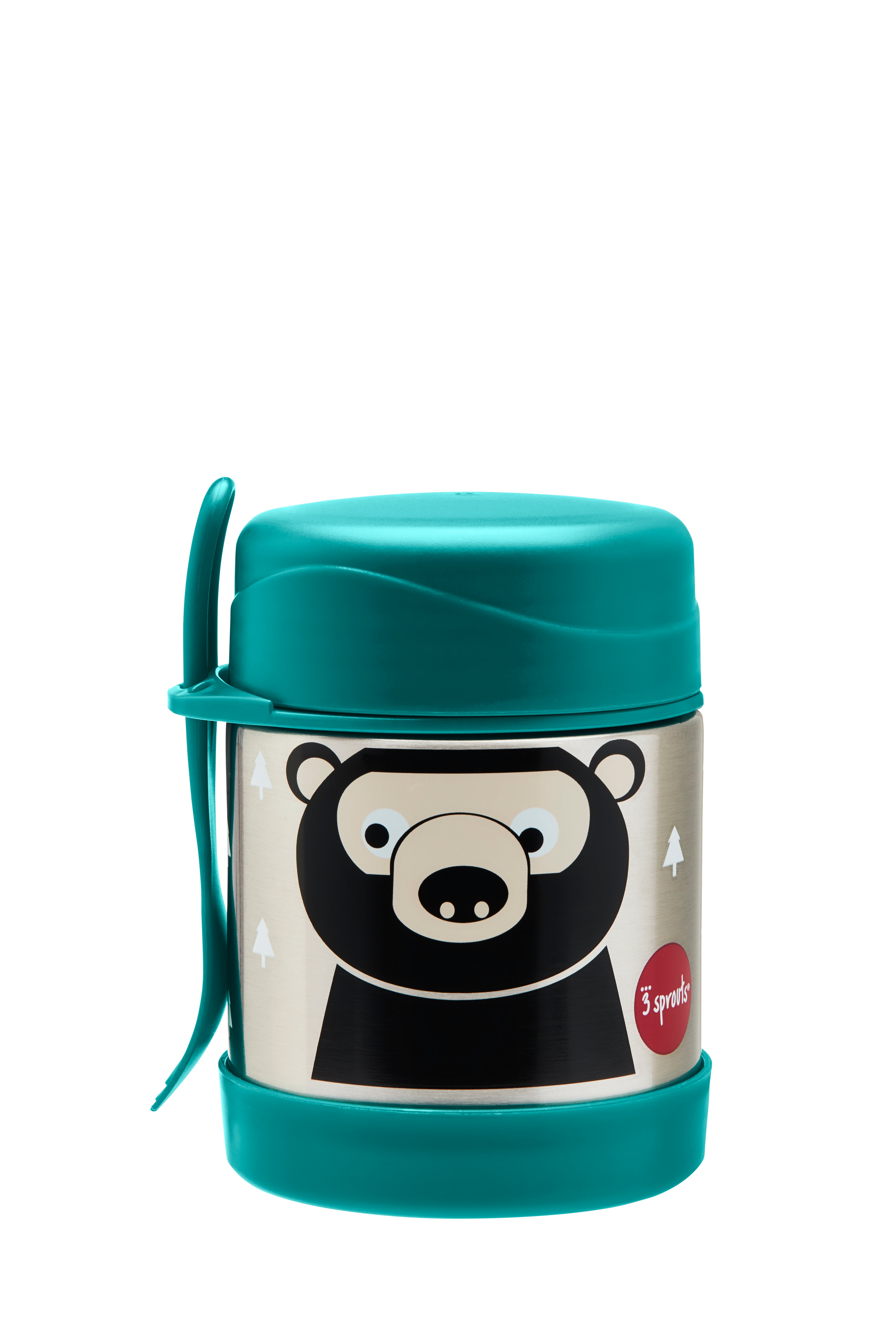 3 Sprouts - Stainless Steel Food Jar and Spork - Teal Bear