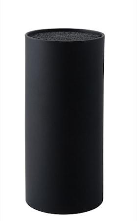 Knivblock med borst svart 22 cm