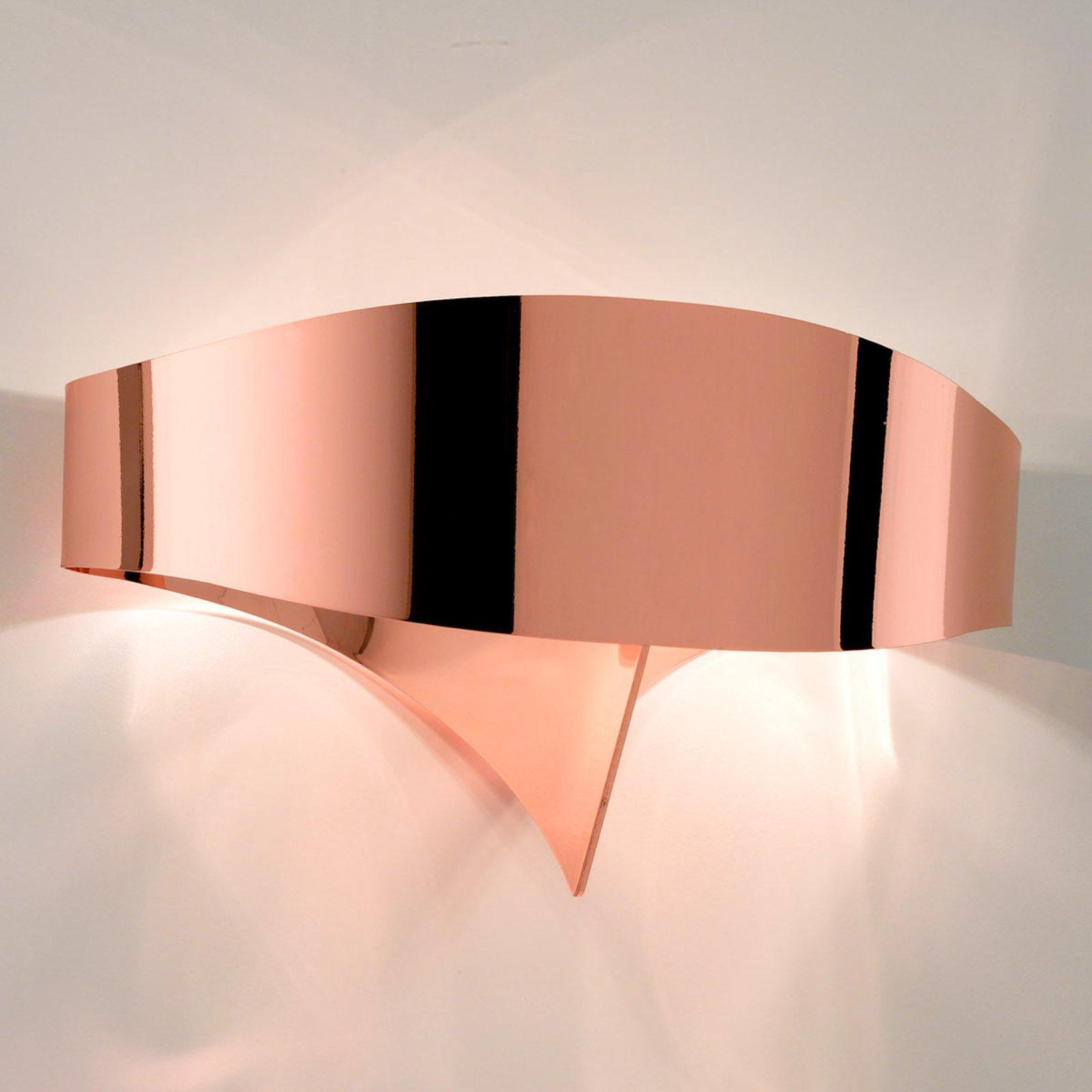 Kobberfarget designer-vegglampe Scudo