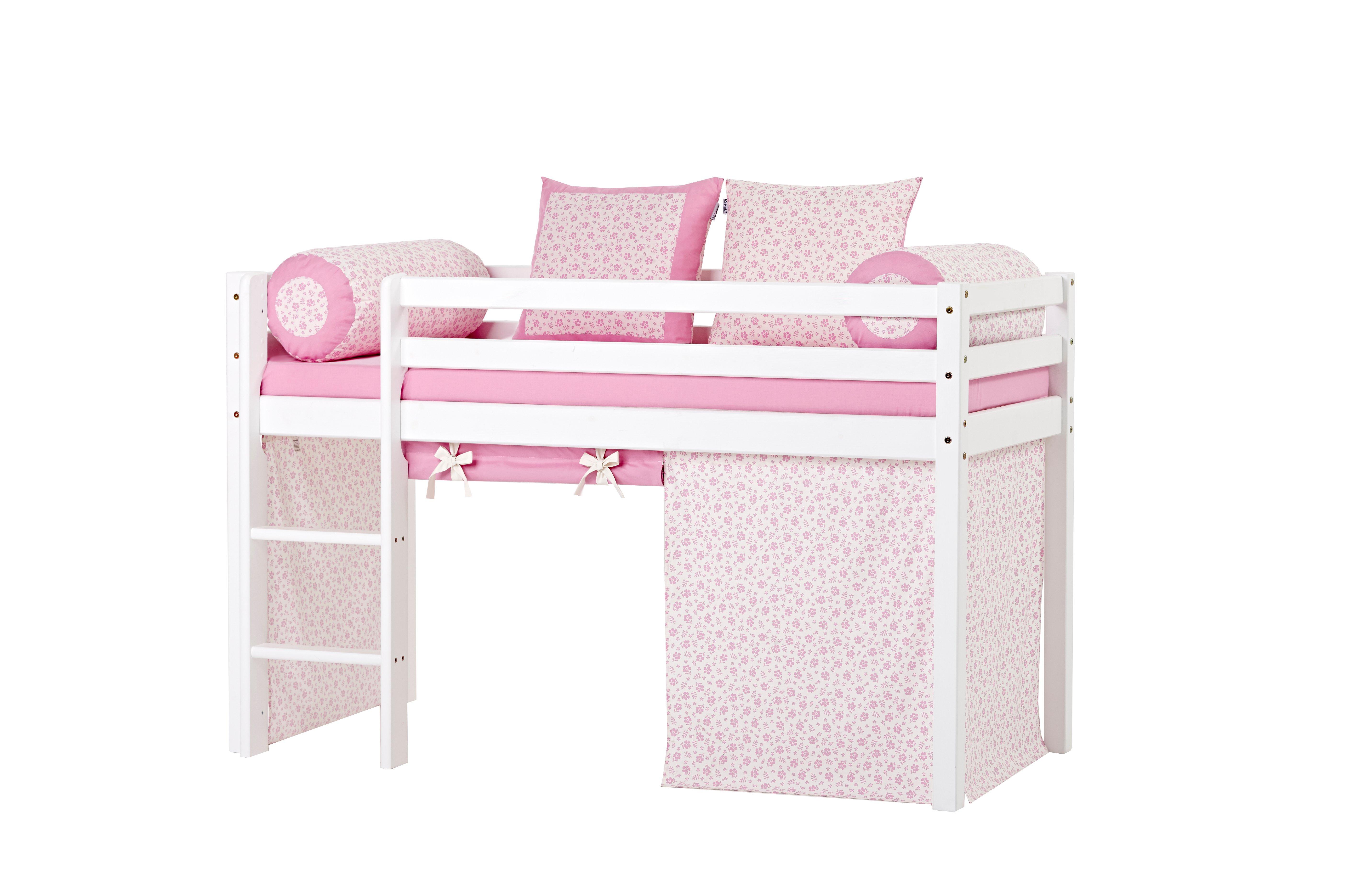 Hoppekids - BASIC Half-high bed with foam mattress + mattress cover + curtain 70x160 - Nostalgia