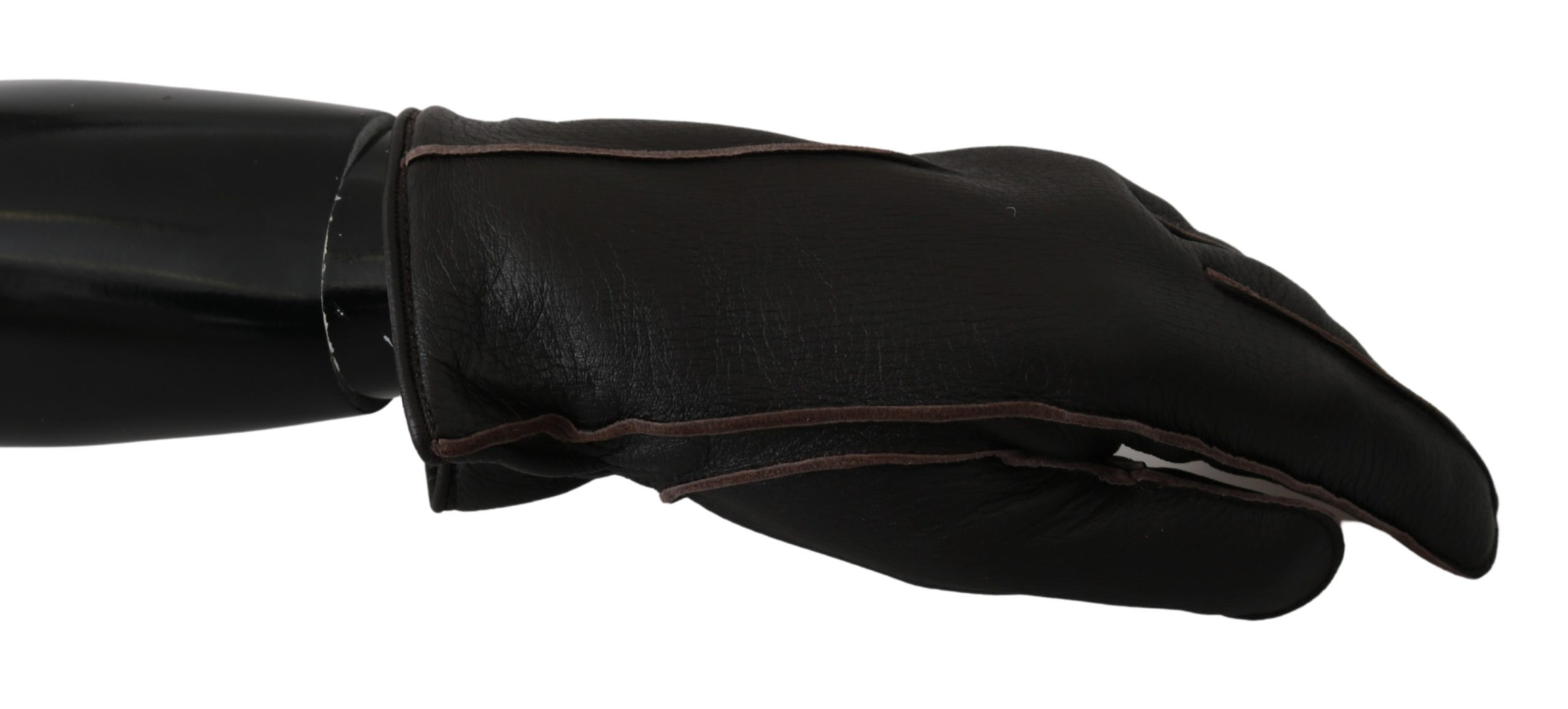 Dolce & Gabbana Women's Leather Deer Skin Biker Mitten Gloves Black LB1005 - 10|XL