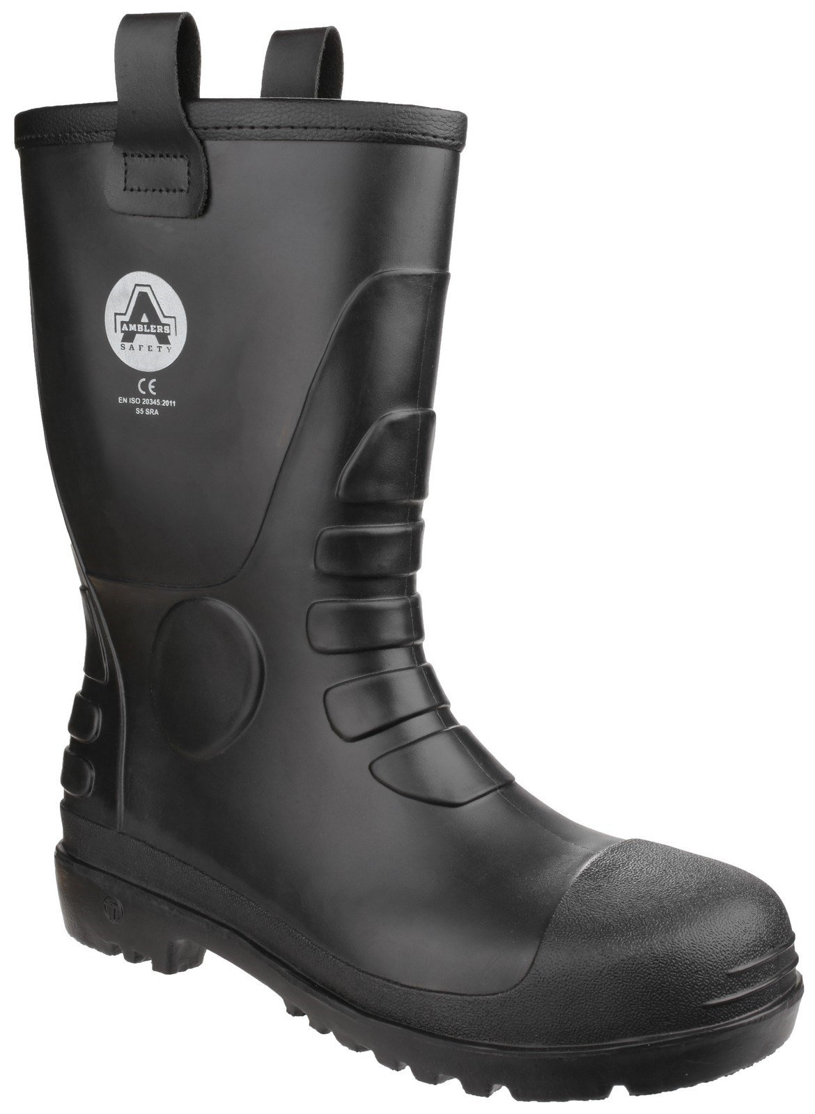 Amblers Unisex Safety Waterproof PVC Pull on Rigger Boot Black 24926 - Black 4