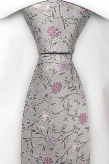 Silke Slips, Grålig base & blomster i blek lilla & blek rosa, Notch SOTNOS GREY
