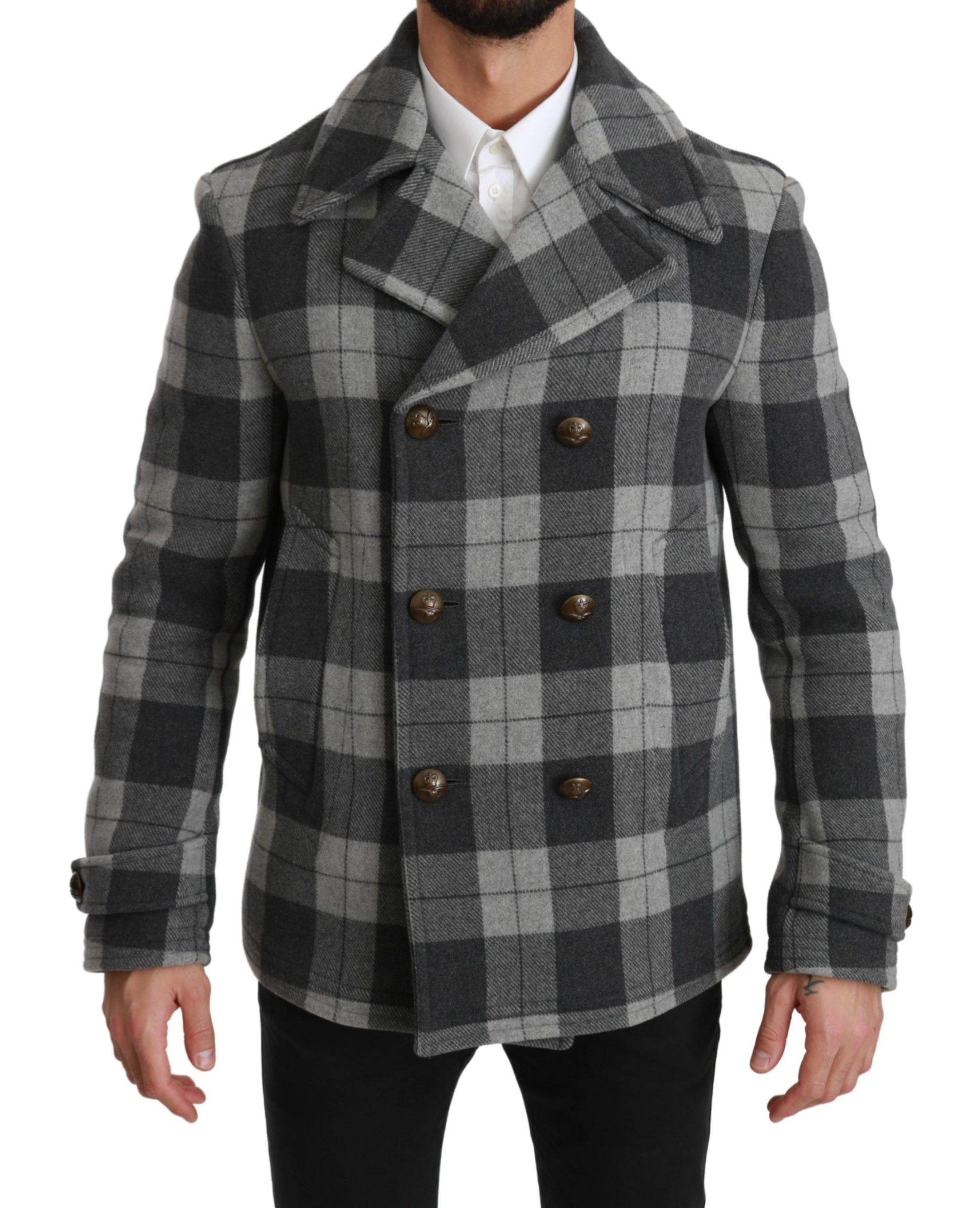 Dolce & Gabbana Men's Check Wool Cashmere Jacket Gray JKT2531 - IT44 | XS