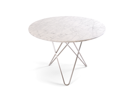 Large O Table Hvit Marmor med Rustfri Stålramme Ø100