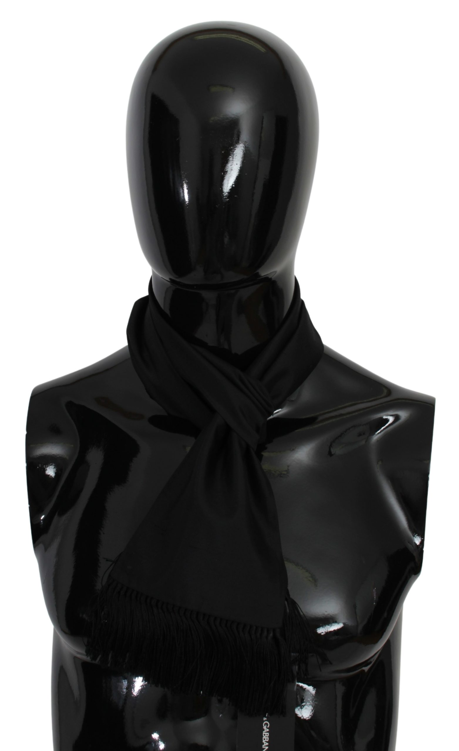 Dolce & Gabbana Men's Fringe Neck Wrap Silk Scarf Black MS1686