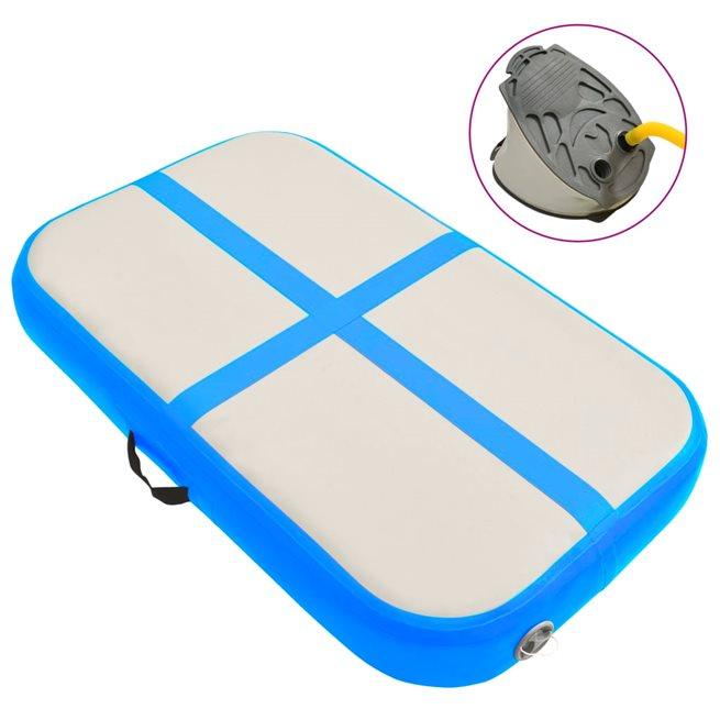 vidaXL Uppblåsbar gymnastikmatta med pump 60x100x10 cm PVC blå