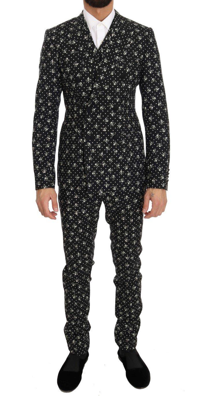 Dolce & Gabbana Men's Skull Print Slim Fit 3 Piece Suit Beige KOS1055 - IT46   S