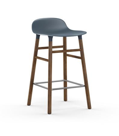 Form Barstol Blå/Valnöt 65 cm