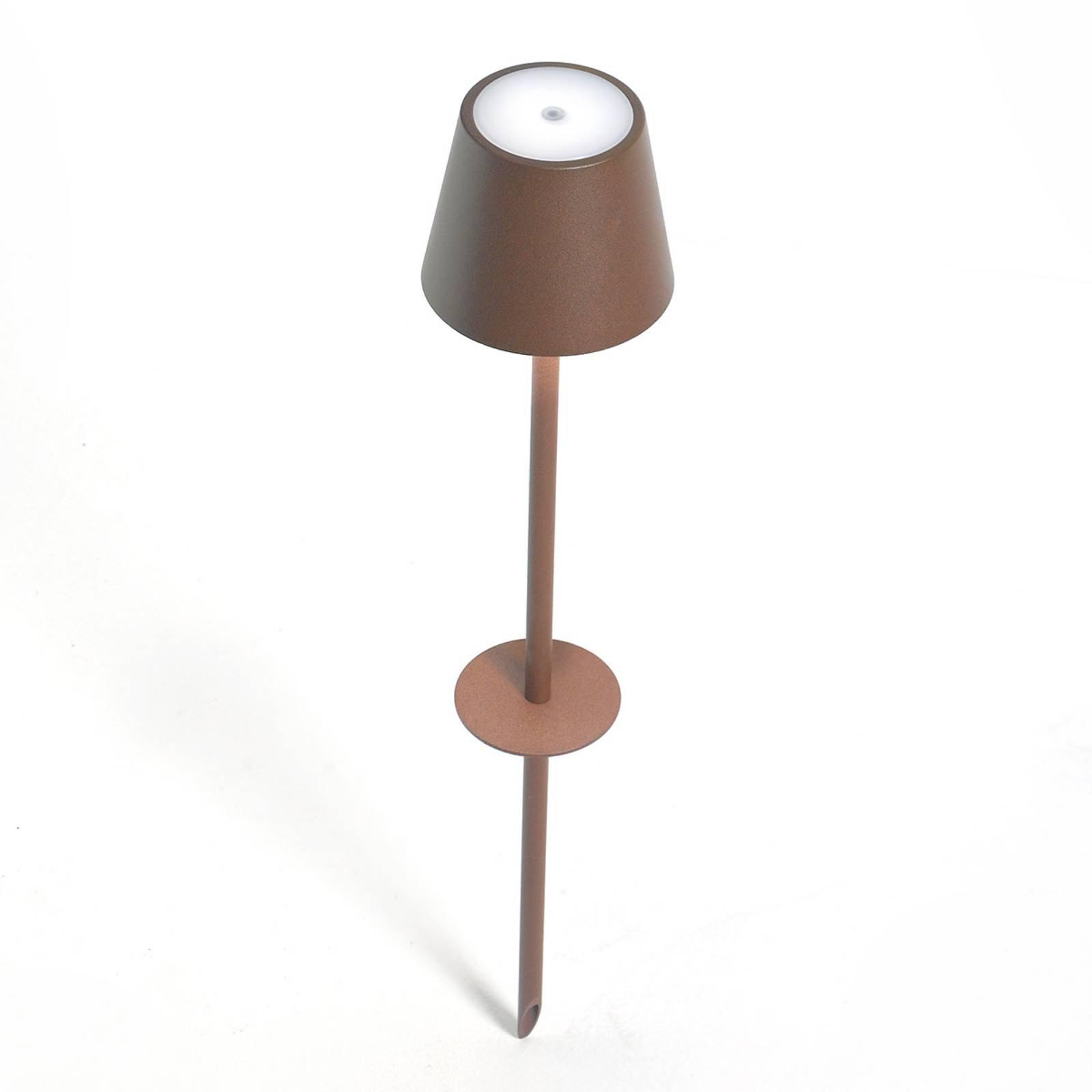 LED-spot med jordspyd Poldina batteri brun 110cm