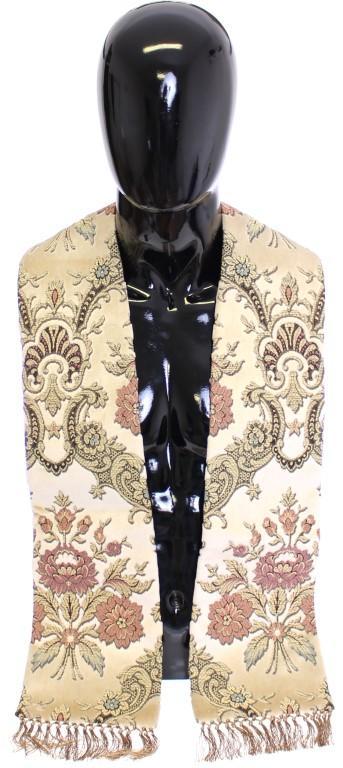 Dolce & Gabbana Men's Necktie Baroque Pattern Scarf Beige SCA10020