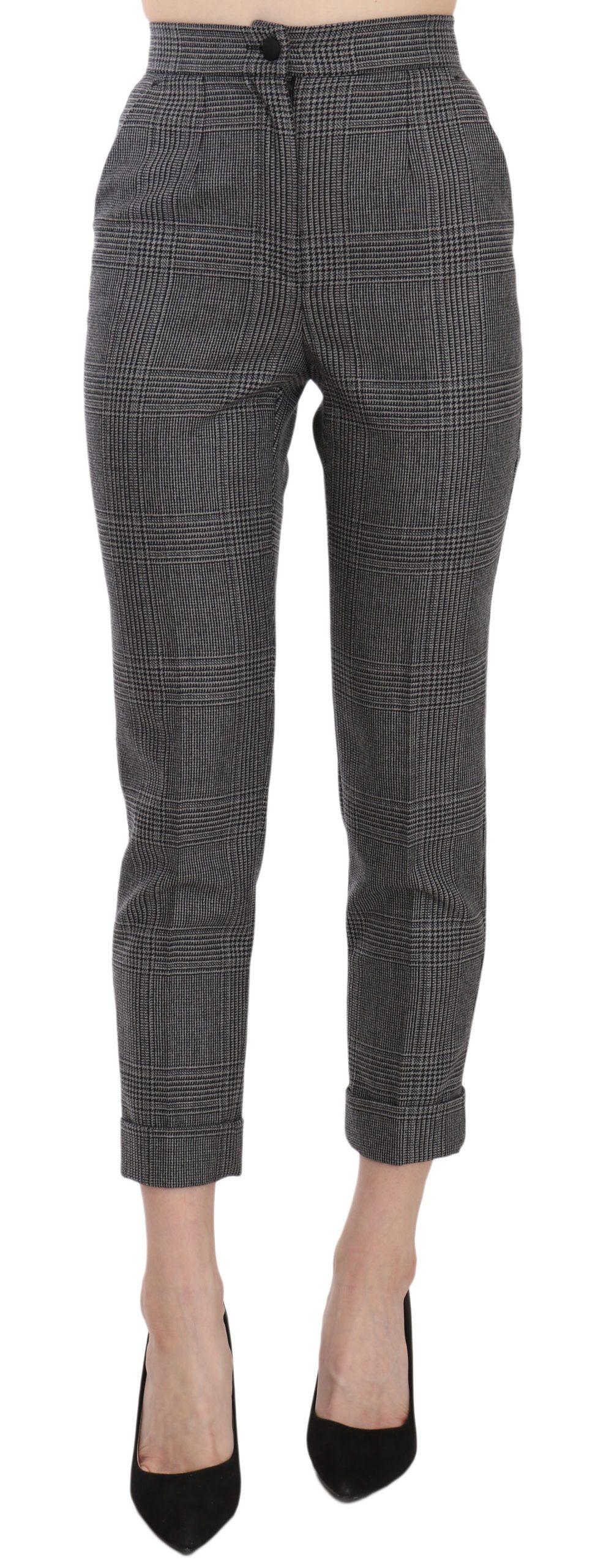 Dolce & Gabbana Women's Plaid High Waist Cropped Skinny Trouser Gray Pan70070 - IT36   XS