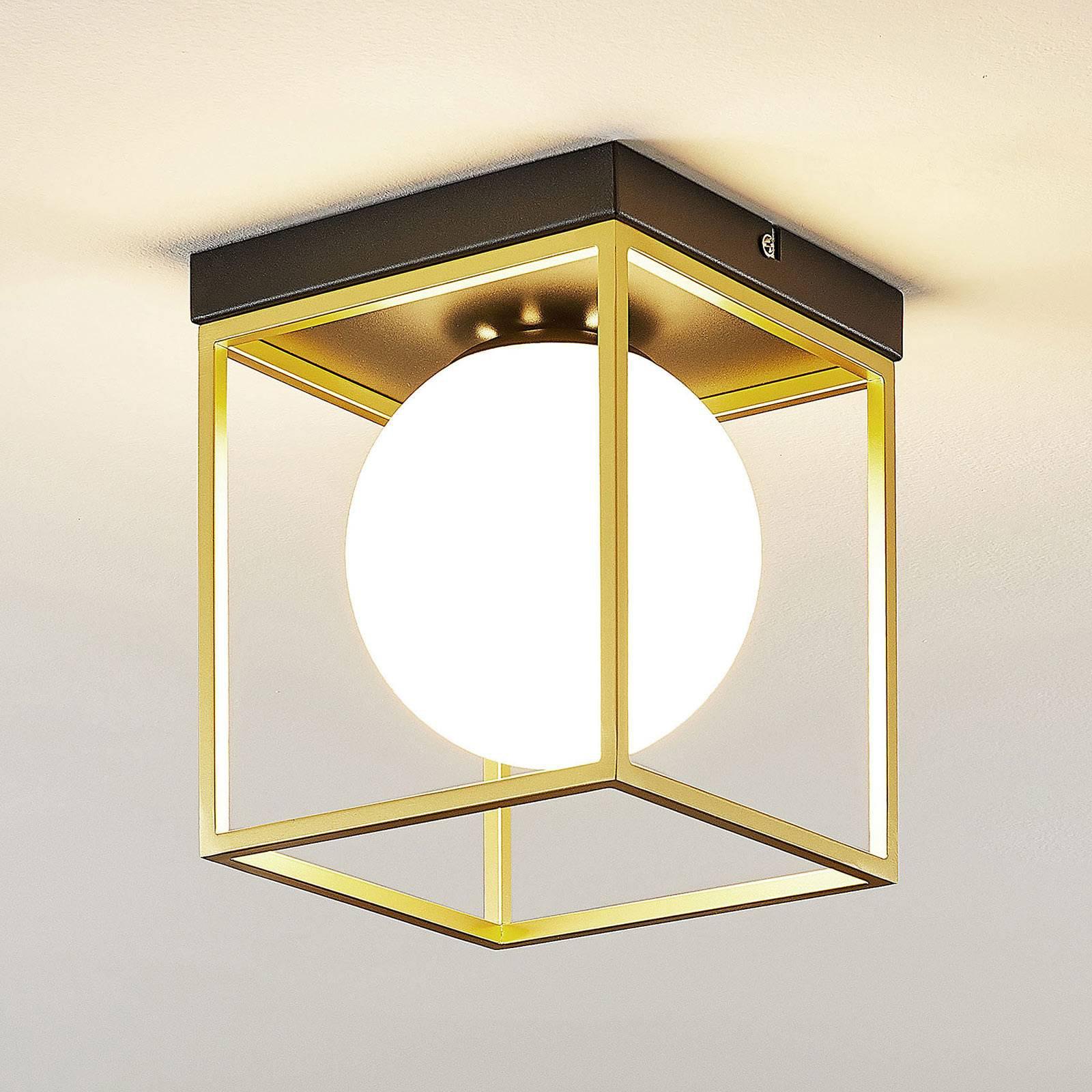 Taklampe Aloam med hvit glasskule, 1 lyskilde