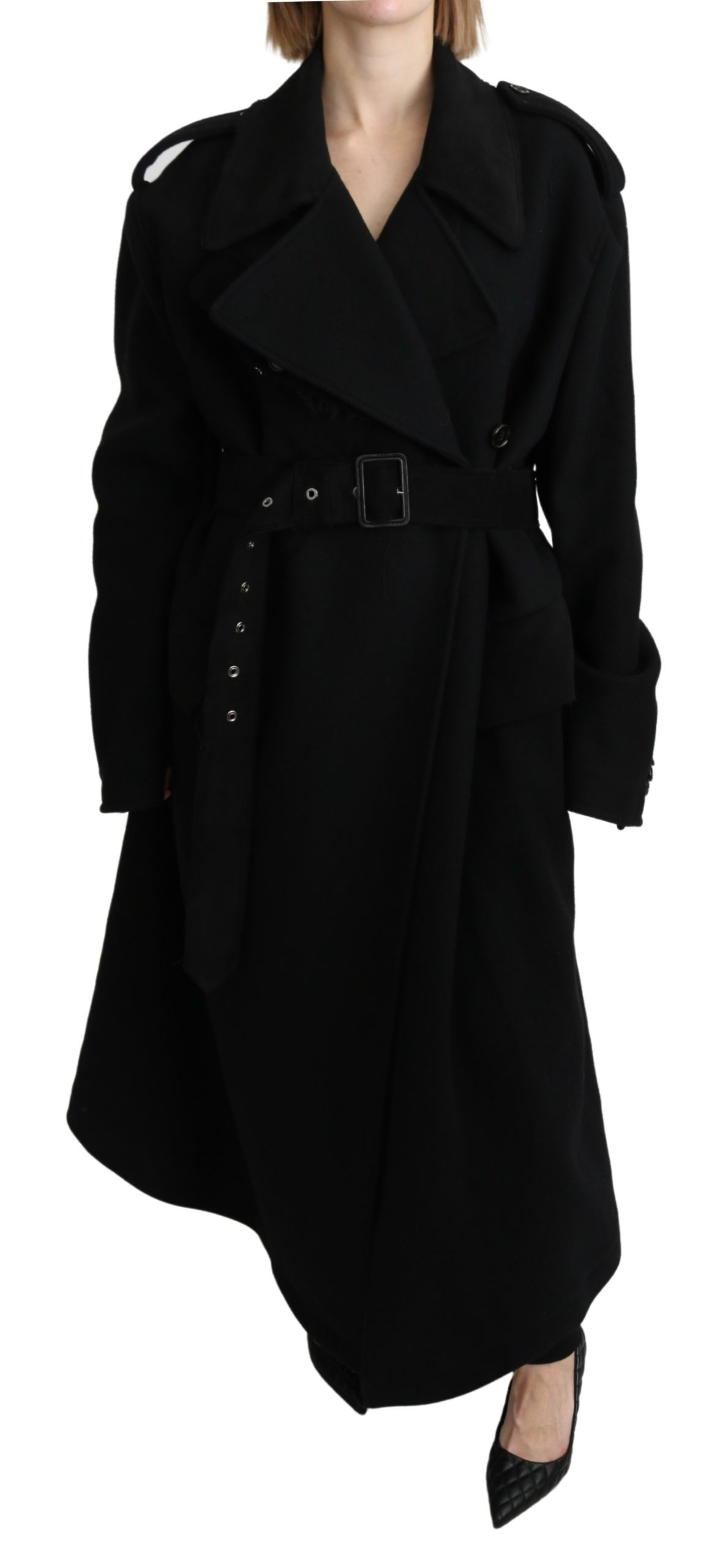 Dolce & Gabbana Women's Wool Trenchcoat Jacket Black JKT2638 - IT40 | M