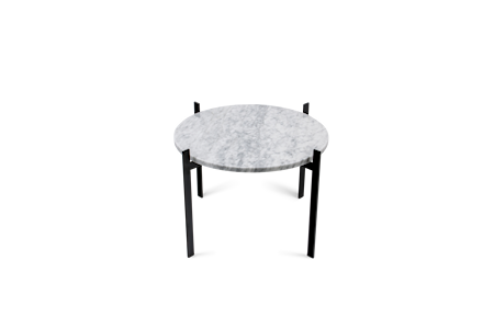 Single Deck Sidebord Hvit Marmor med Svart Ramme