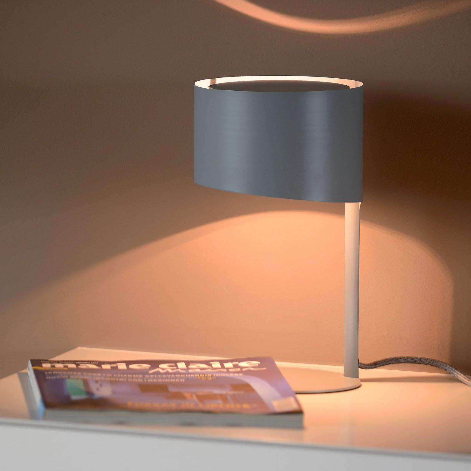 Knulle bordlampe av metall, grå