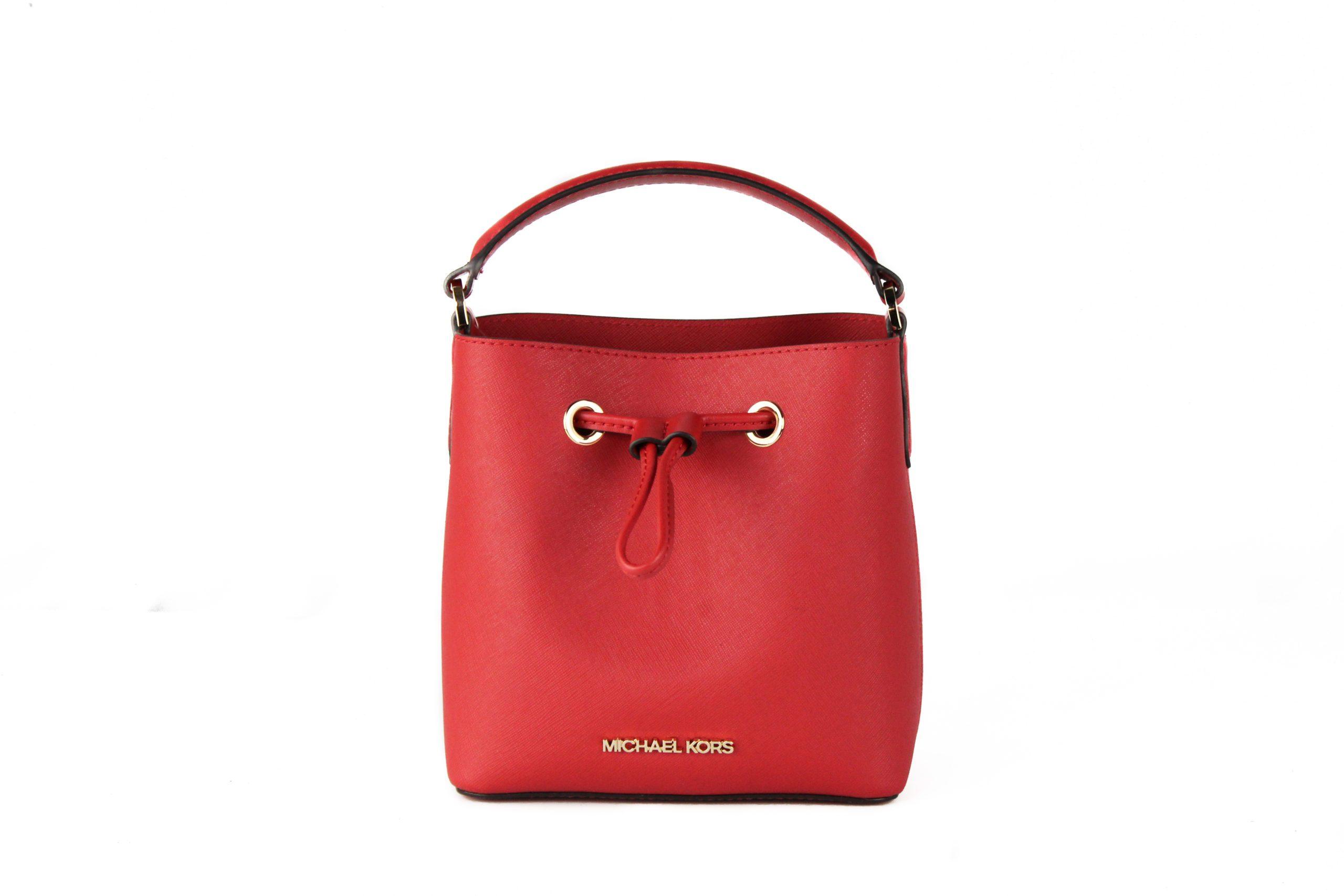Michael Kors Women's Suri Small Leather Bucket Crossbody Bag Red 79409