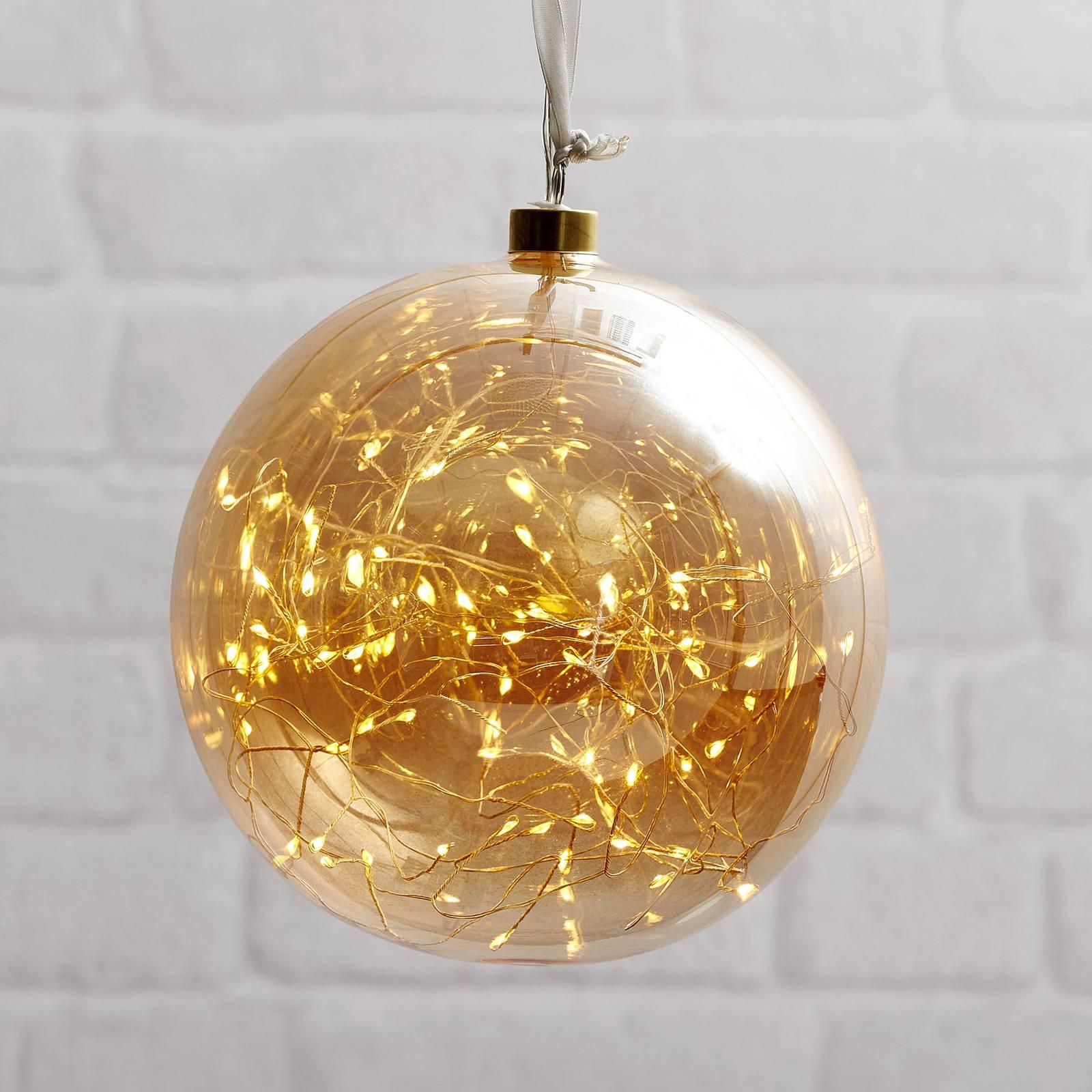 Glow-LED-koristepallo lasia, Ø 20 cm keltainen