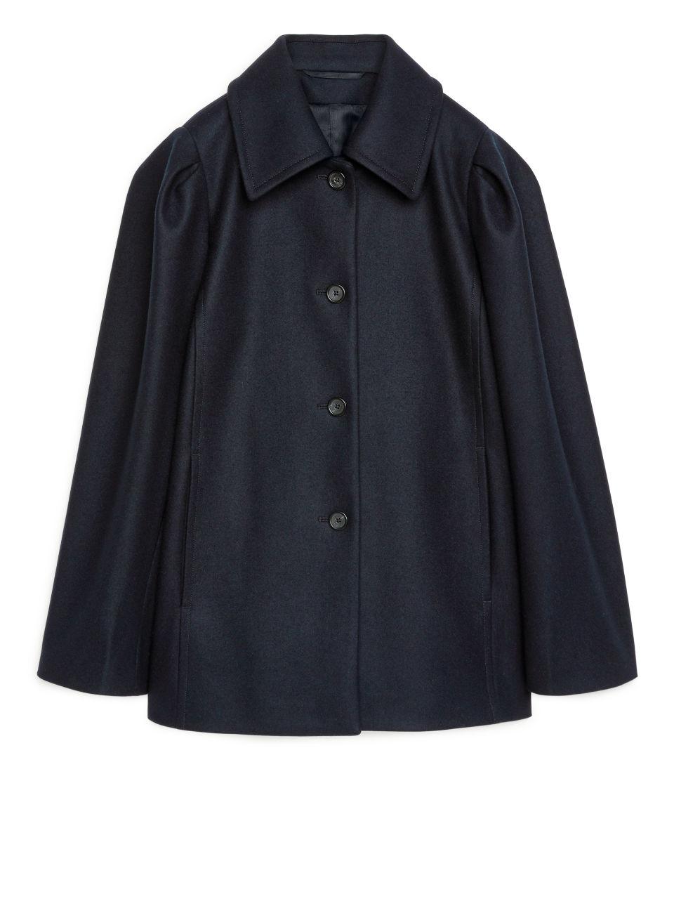 Puff Sleeve Melton Jacket - Blue