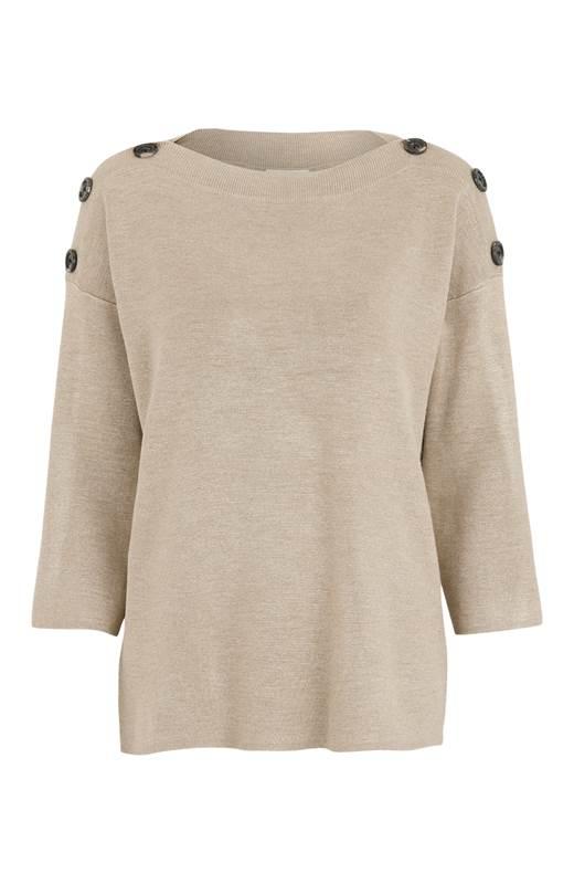 Freequent Stickad tröja Ani Beige Melange