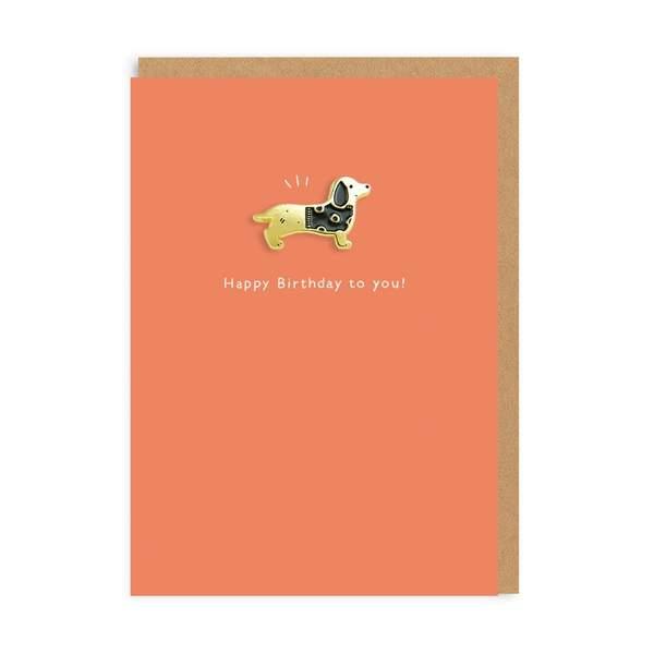 Sausage Dog Enamel Pin Greeting Card