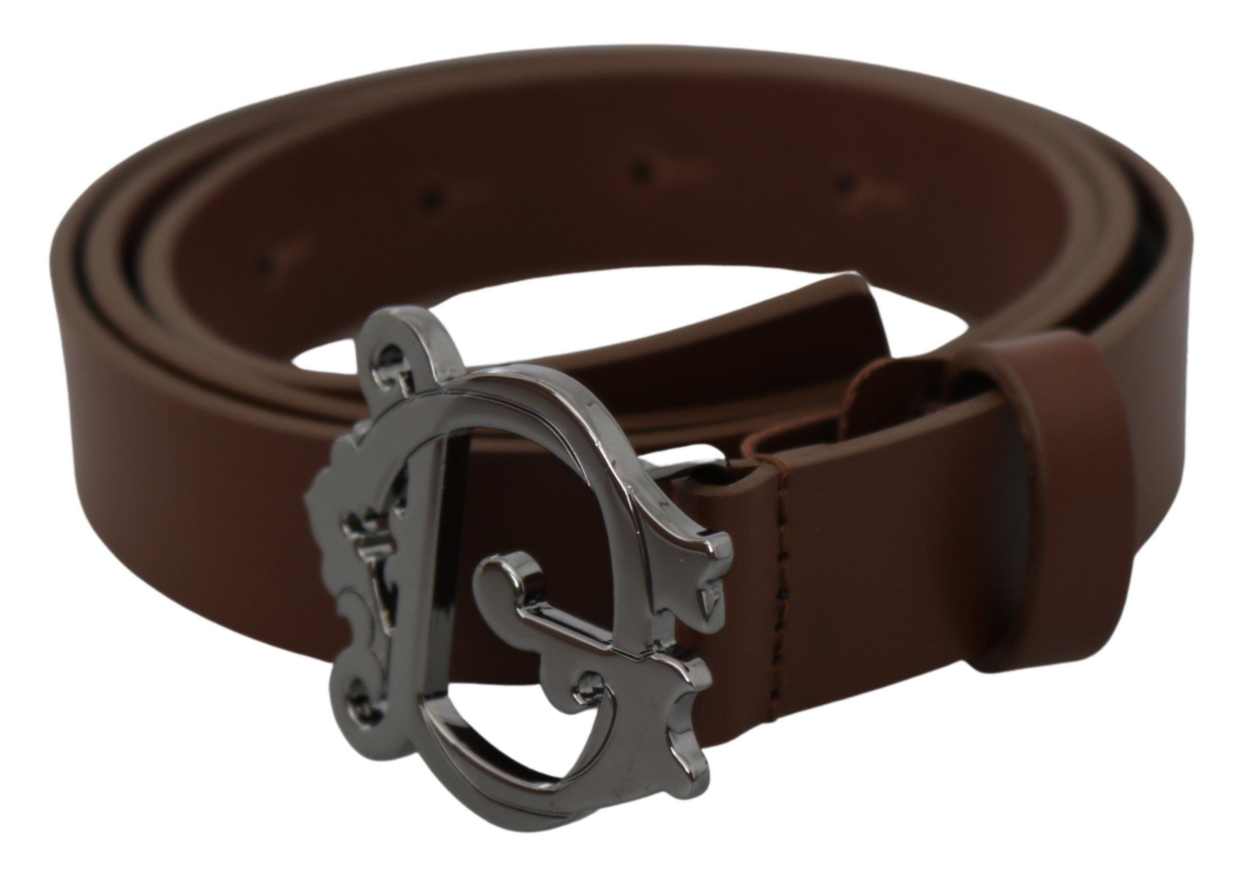 Brown Leather Gray Baroque DG Buckle Belt - 90 cm / 36 Inches