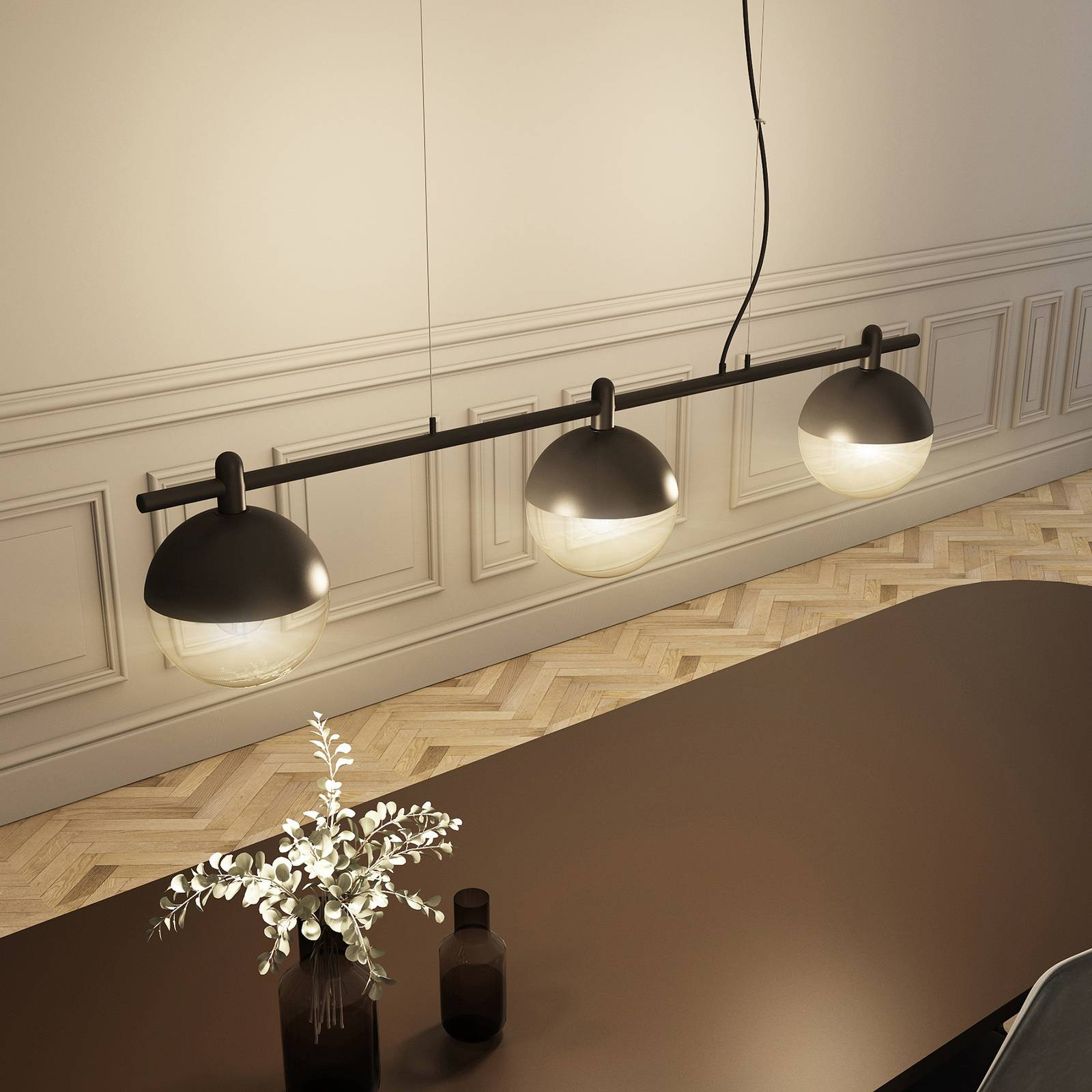 Lucande Dustian -riippuvalo, 3-lamp., 124 cm