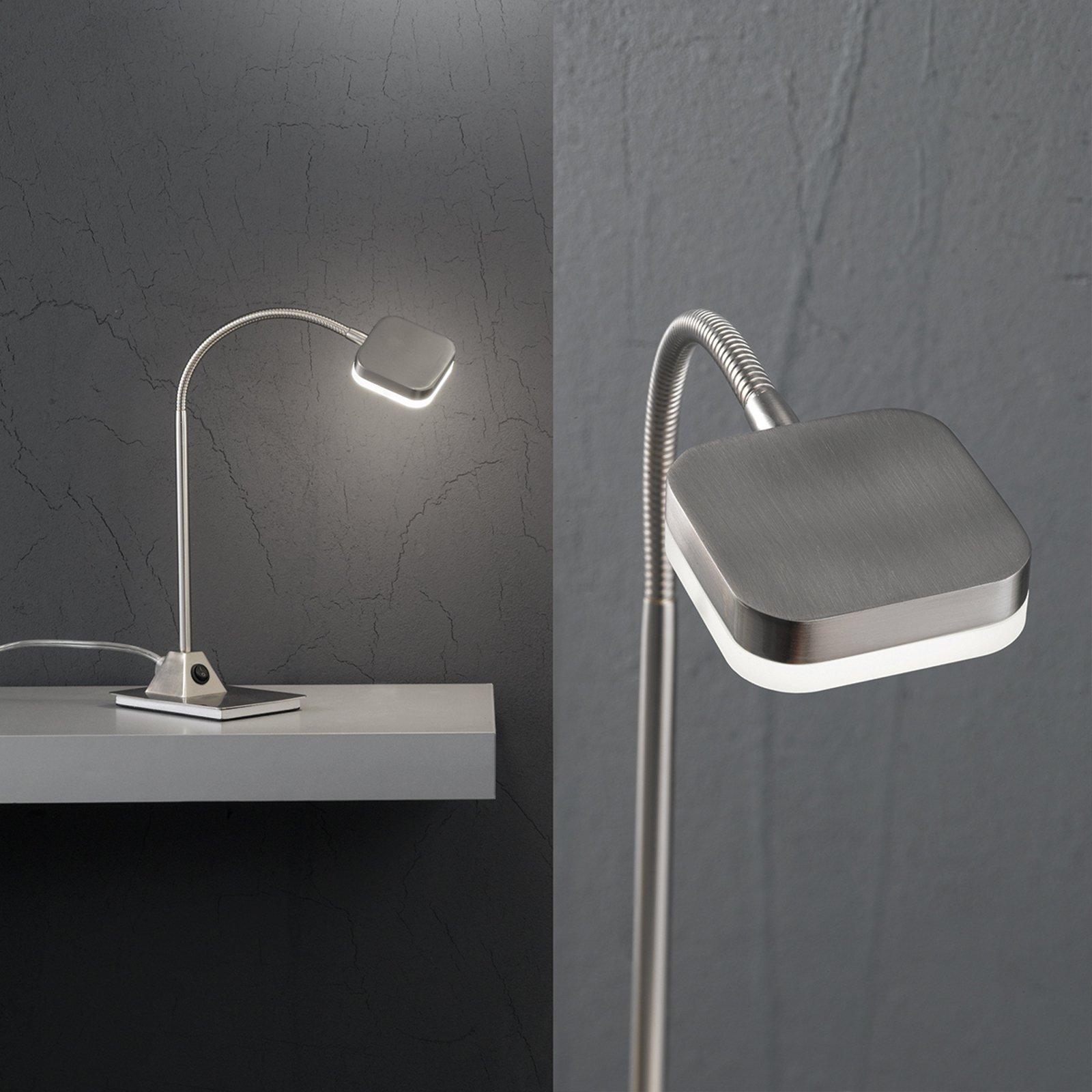 LED-bordlampe Tobias, matt nikkel