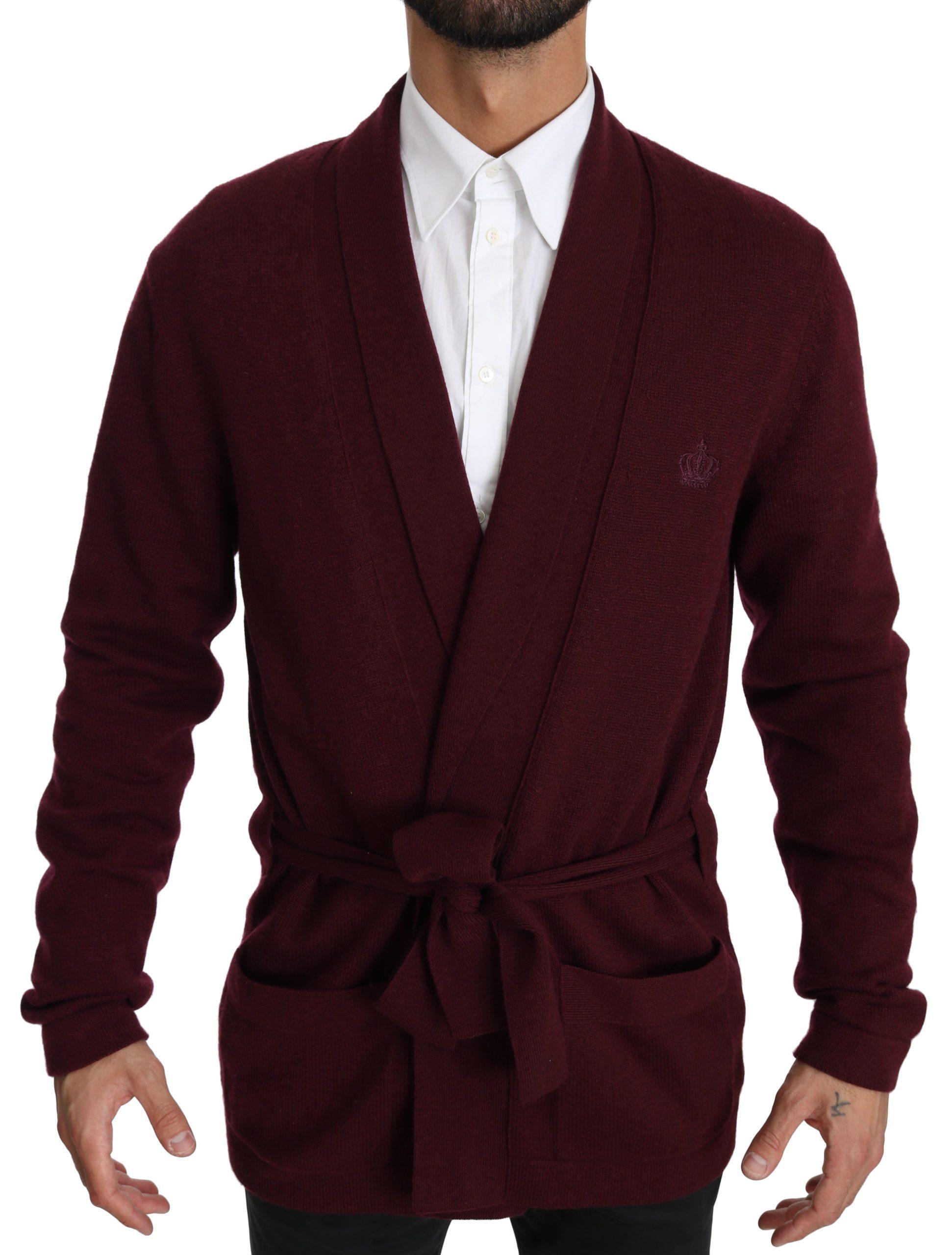 Dolce & Gabbana Men's Crown Logo Robe Coat Bordeaux TSH4034 - IT48 | M