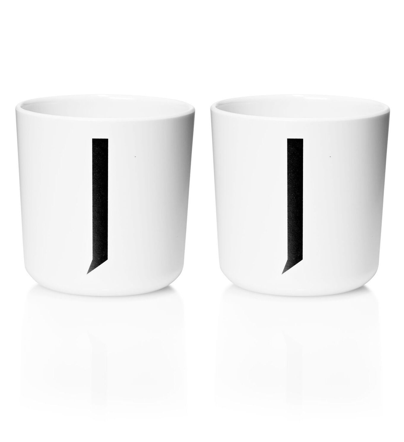 Design Letters - Personal Melamine Cup J - 2 pcs - White -(Bundle)