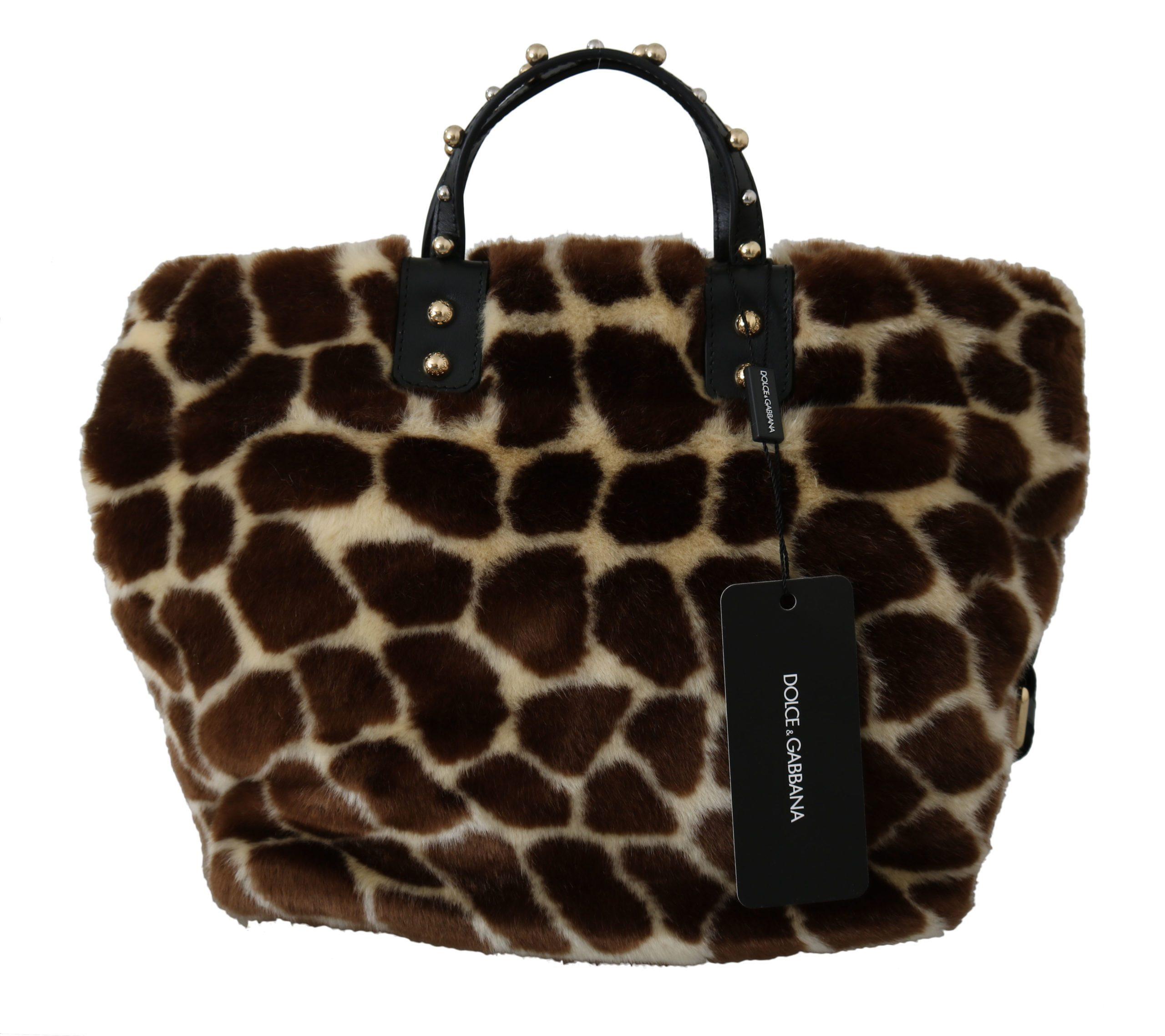 Dolce & Gabbana Women's Giraffe Print Shopping Tote Bag Brown VAS8752