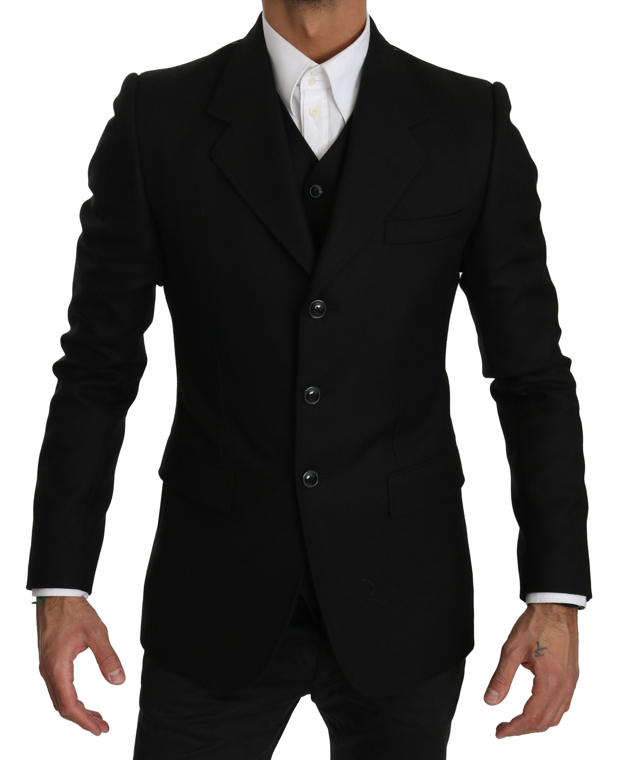 Dolce & Gabbana Men's Wool Two Piece Vest Jacket Blazer Black KOS1604 - IT48   M