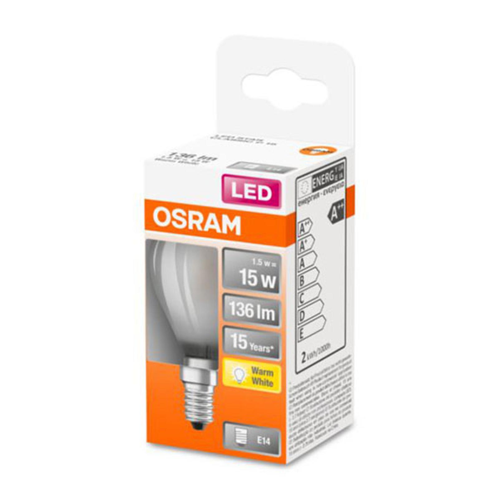 OSRAM Classic P -LED-lamppu E14 1,5W 2 700 K matta