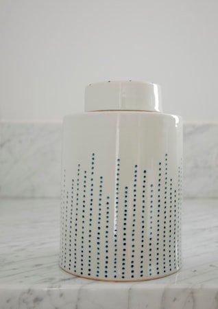Dribble keramikkboks – Indigo, medium