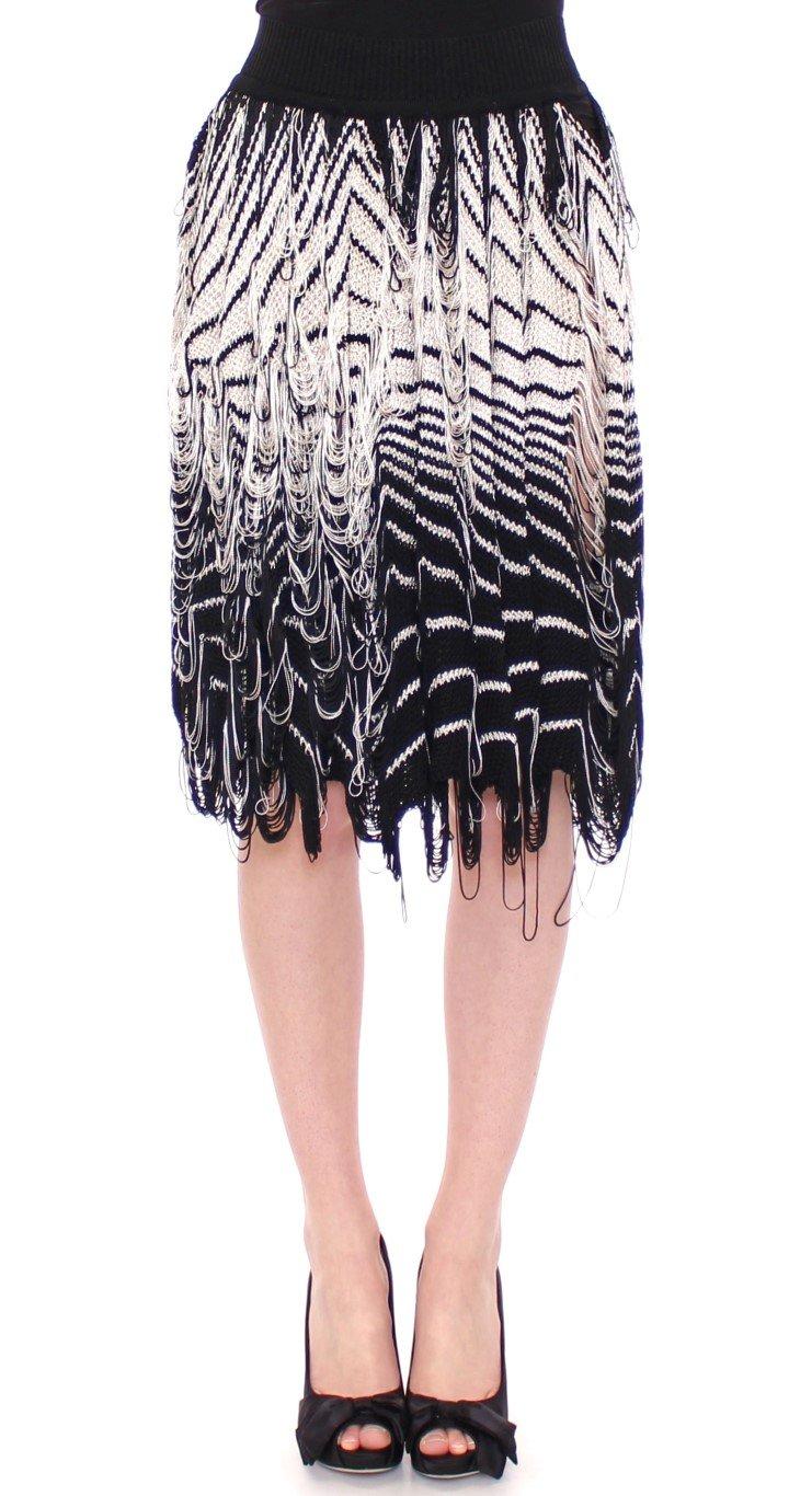Alice Palmer Women's Knitted Assymetrical Skirt Black/White MOM10055 - IT42|M