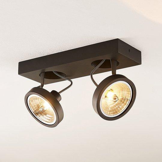 Arcchio Jorvin -kattospotti, 2-lamp., musta