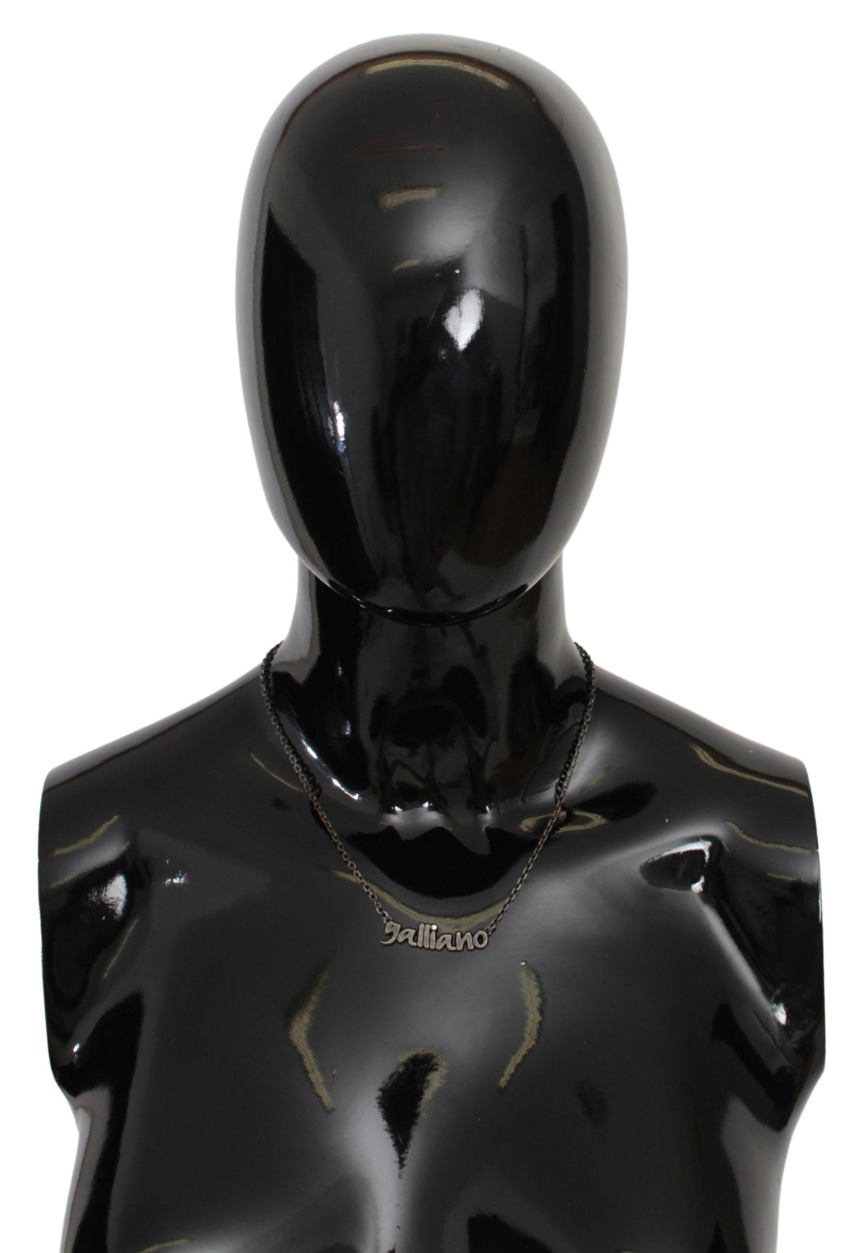 John Galliano Women's Steel Crystal Charm Necklace Gray SMY7019