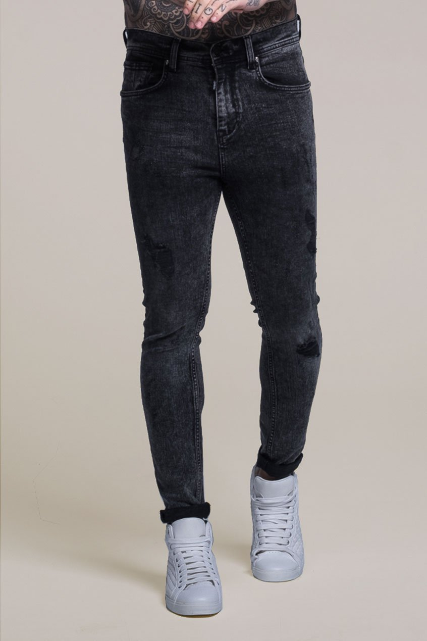 Johnny Skinny Fit Stretch Distressed Men's Jeans - Grey, 30 inch waist