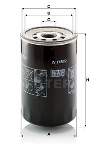 Öljynsuodatin MANN-FILTER W 1150/2