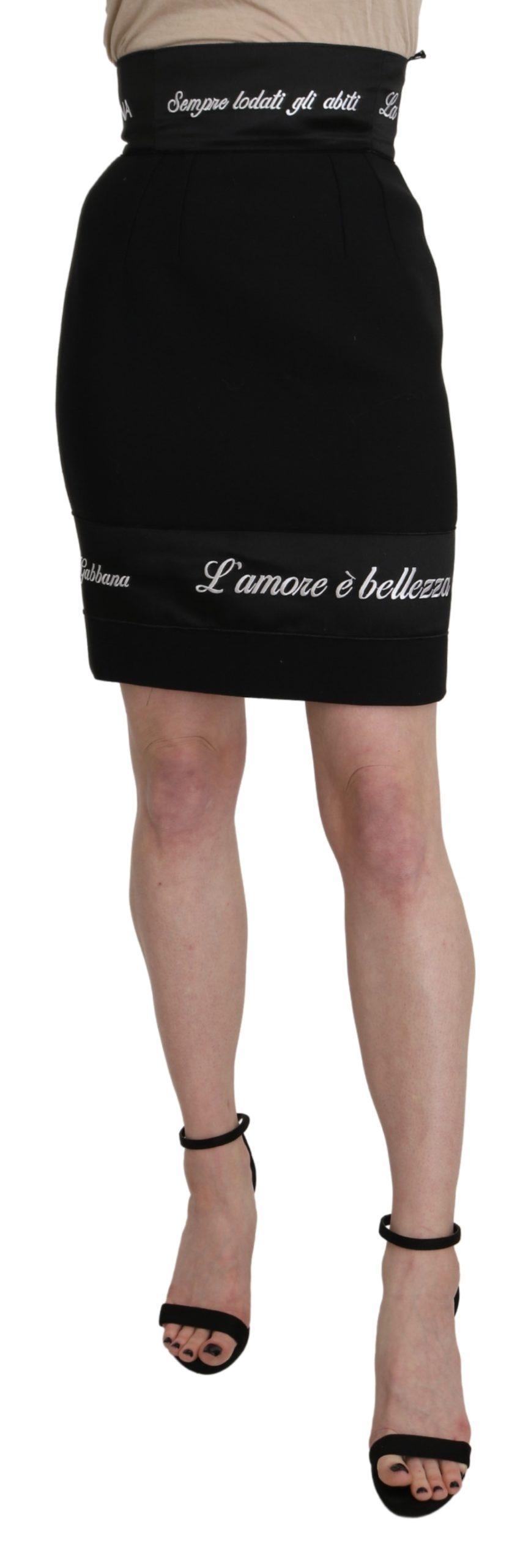 Black High Waist Pencil Short Branded Skirt - IT36   XS